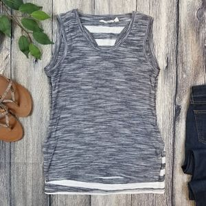 Athleta Gray and Striped Layered Athletic Tank
